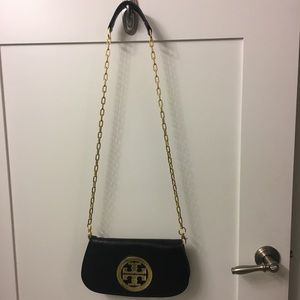Black leather Tory Burch crossbody with gold